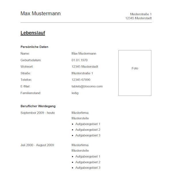 vorlage muster vorlage 1 - Lebenslauf Vorlage 2013