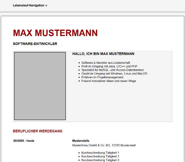 HTML-Vorlage für den Online-Lebenslauf