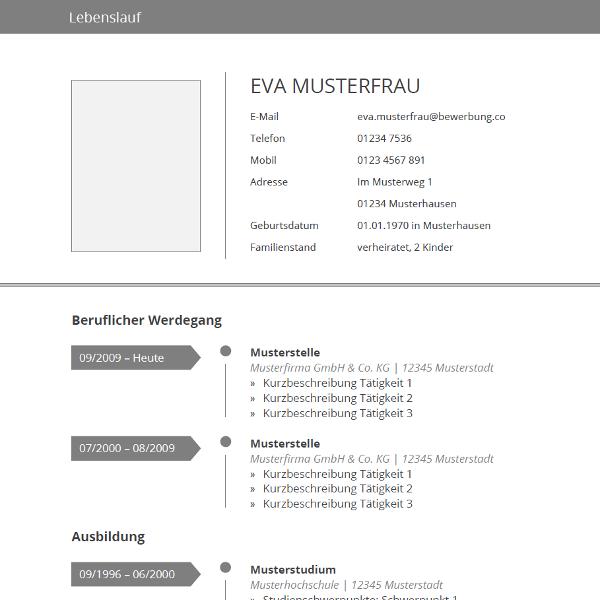 Vorlage grau tabellarischer lebenslauf for Interior design ausbildung schweiz