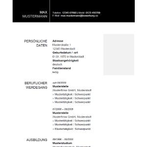 Vorlage / Muster: Musterlebenslauf Schwarz