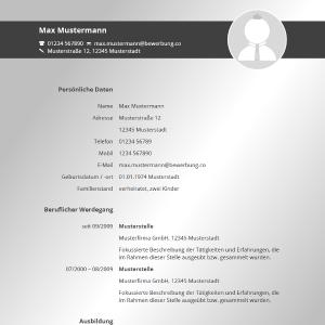 Vorlage / Muster: Lebenslauf-Vorlage 2016