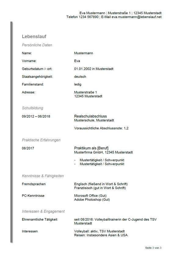 Vorlage / Muster: Bewerbung: Lebenslauf Ausbildung