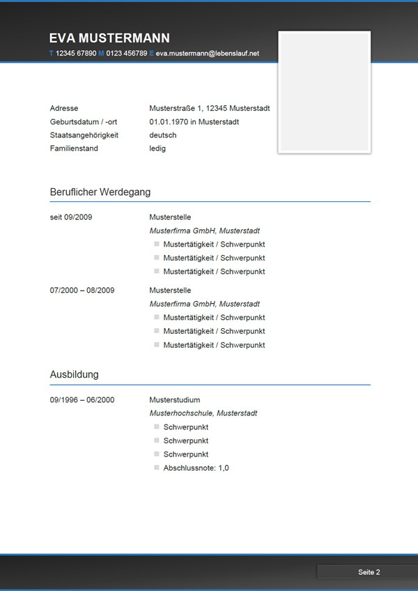 Vorlage / Muster: Bewerbung: Lebenslauf-Muster