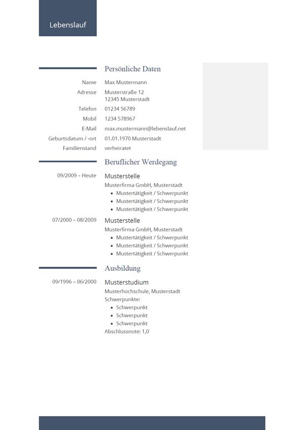 Vorlage / Muster: Bewerbung: Lebenslauf-Vorlage