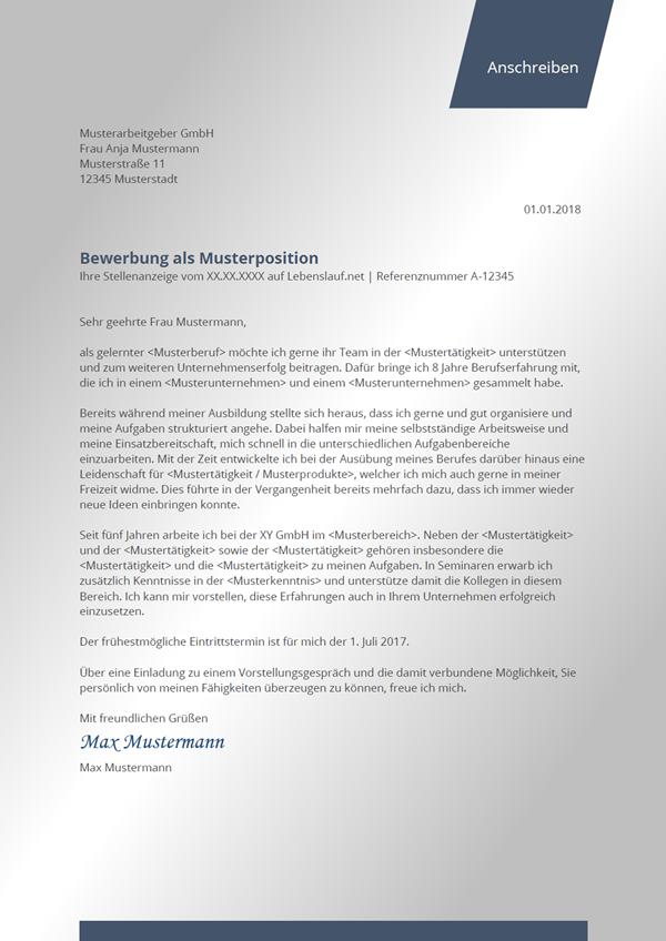 Vorlage / Muster: Bewerbungsschreiben Muster 2018