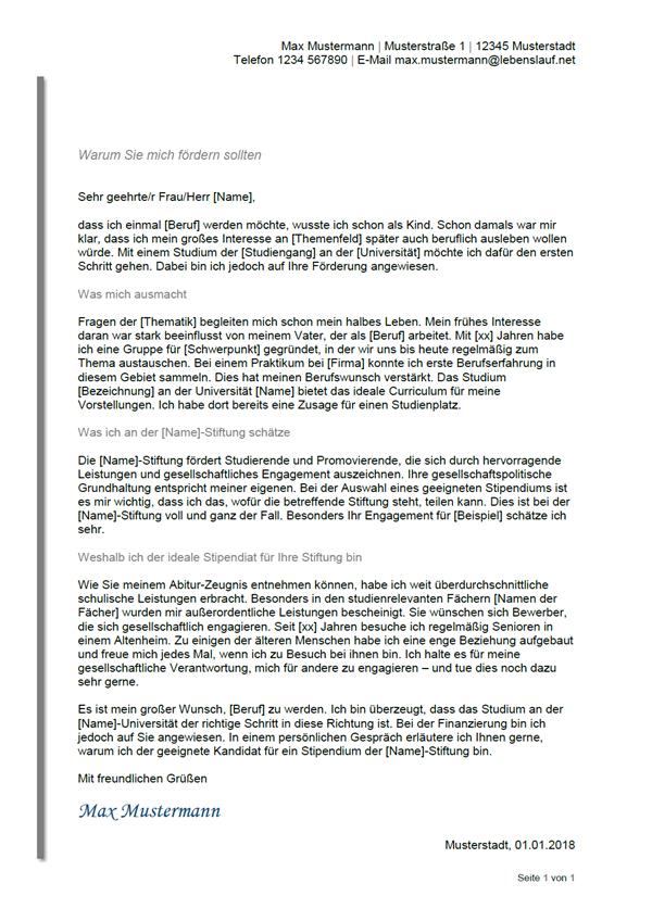 Vorlage / Muster: Motivationsschreiben Stipendium