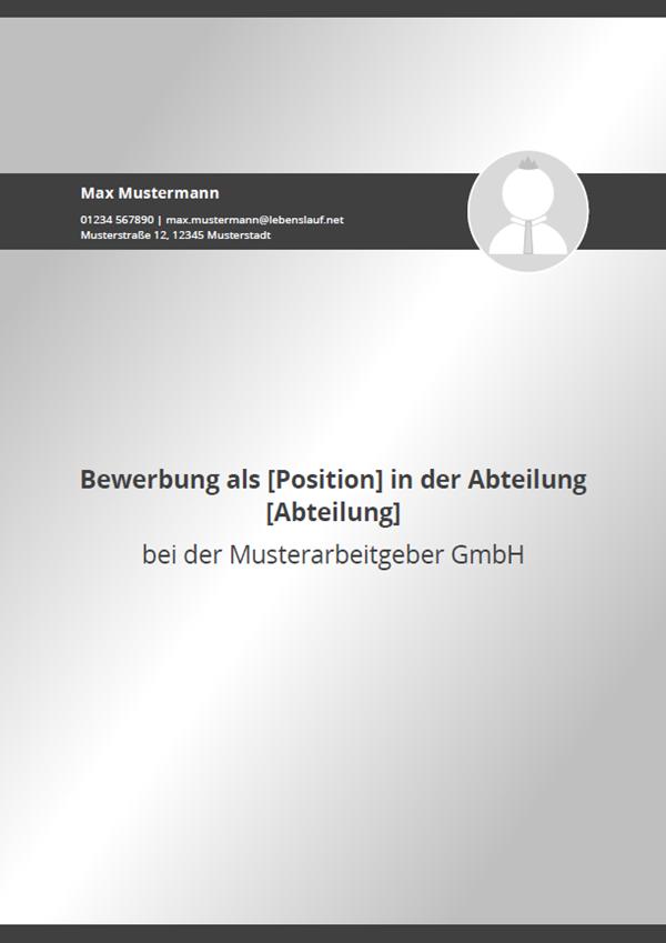 Muster / Vorlage: Initiativbewerbung Deckblatt 2018