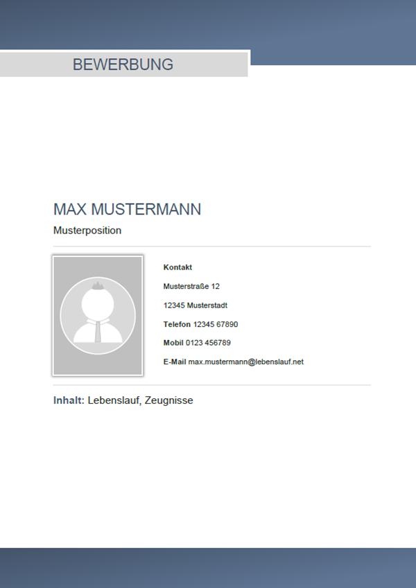 Muster / Vorlage: Initiativbewerbung Deckblatt Muster