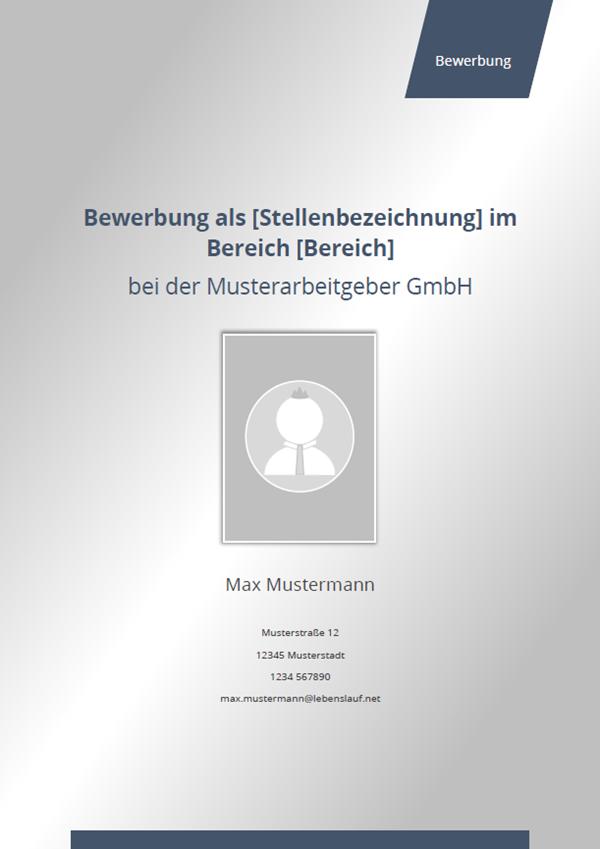 Muster / Vorlage: Initiativbewerbung Deckblatt Vorlage 2018