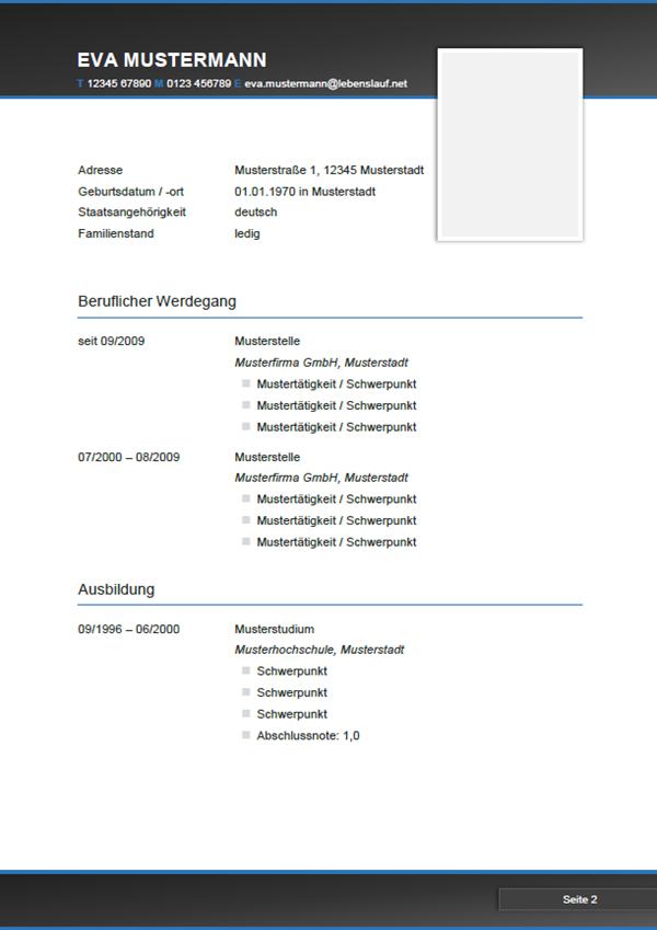 Muster / Vorlage: Initiativbewerbung Lebenslauf 1