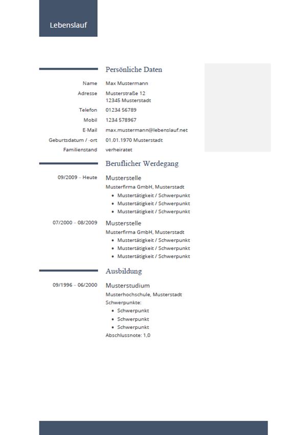 Muster / Vorlage: Initiativbewerbung Lebenslauf 2