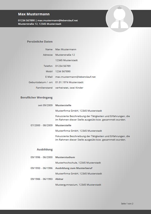 Muster / Vorlage: Initiativbewerbung Lebenslauf 2018