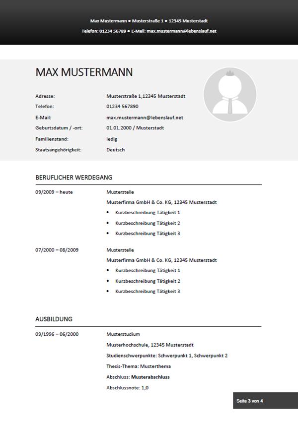 Muster / Vorlage: Initiativbewerbung Lebenslauf 3