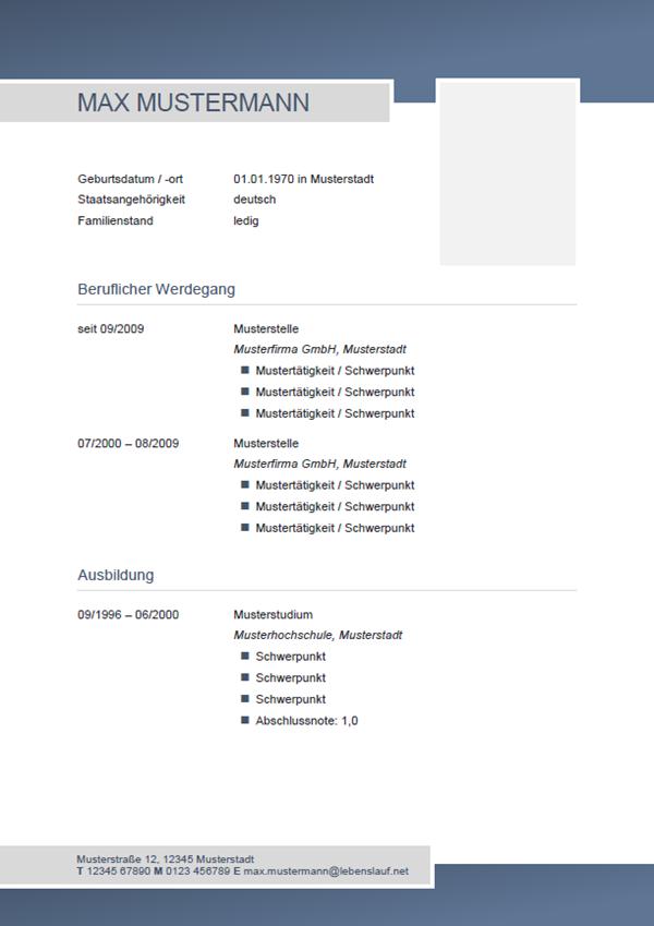 Muster / Vorlage: Initiativbewerbung Lebenslauf Muster