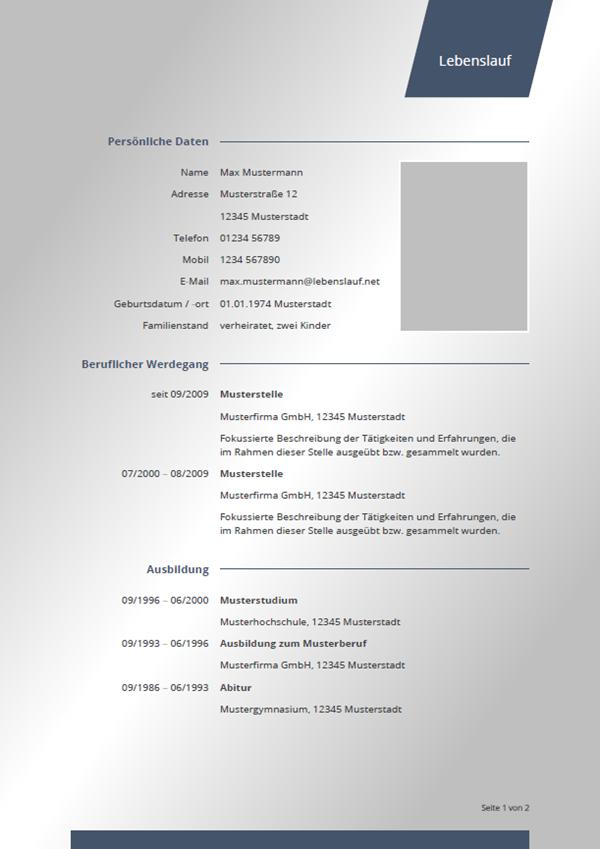 Muster / Vorlage: Initiativbewerbung Lebenslauf Vorlage 2018