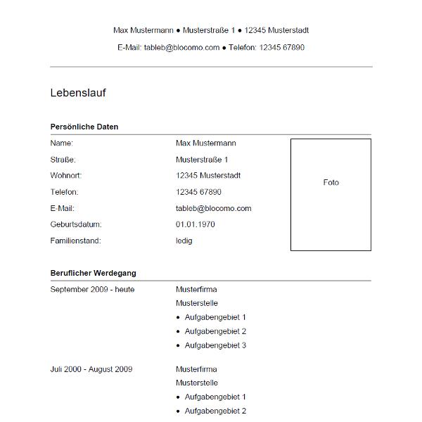 Vorlage / Muster: Lebenslauf-Vorlage 34